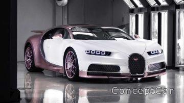 В Британии муж подарил жене бело-розовый Bugatti
